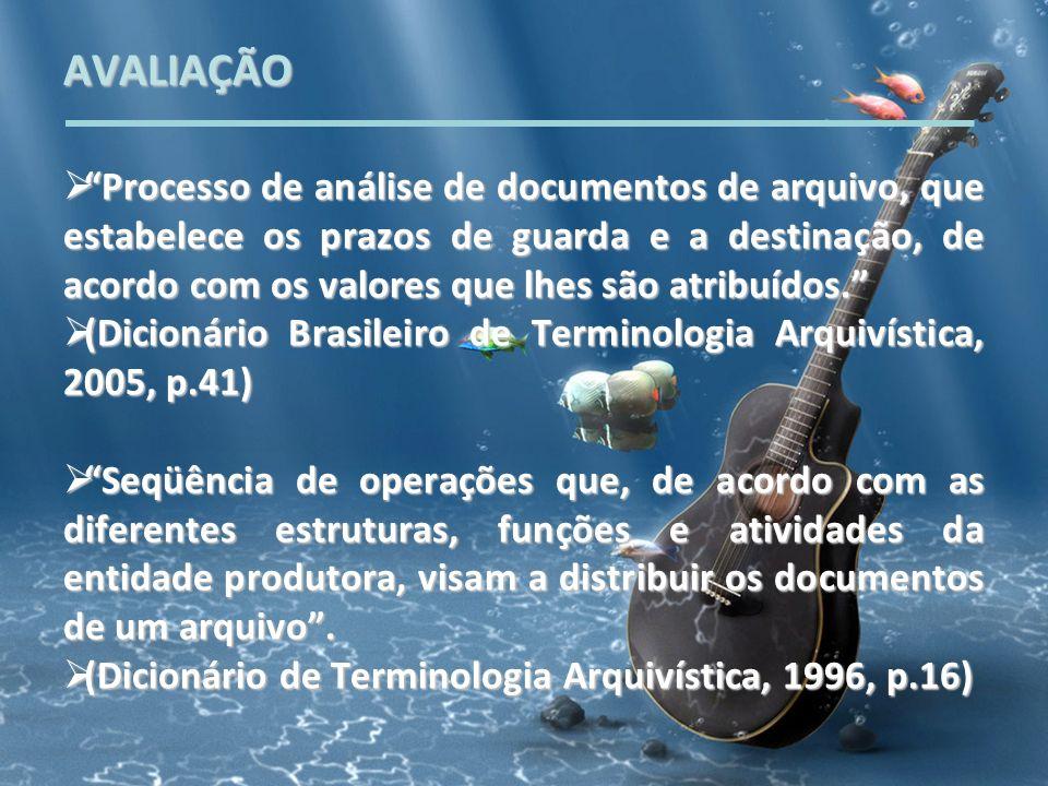 AVALIAÇÃO Processo de análise de documentos de arquivo, que estabelece os prazos de guarda e a destinação, de acordo com os valores que lhes são atrib