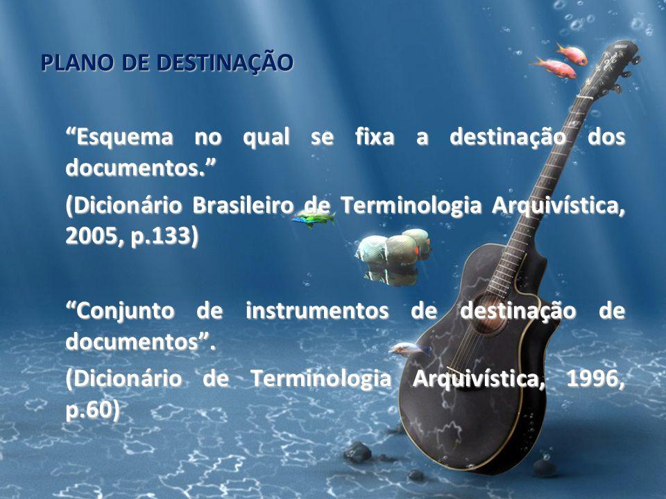 PLANO DE DESTINAÇÃO Esquema no qual se fixa a destinação dos documentos. (Dicionário Brasileiro de Terminologia Arquivística, 2005, p.133) Conjunto de