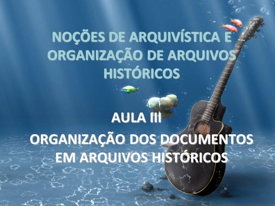 NOÇÕES DE ARQUIVÍSTICA E ORGANIZAÇÃO DE ARQUIVOS HISTÓRICOS AULA III ORGANIZAÇÃO DOS DOCUMENTOS EM ARQUIVOS HISTÓRICOS