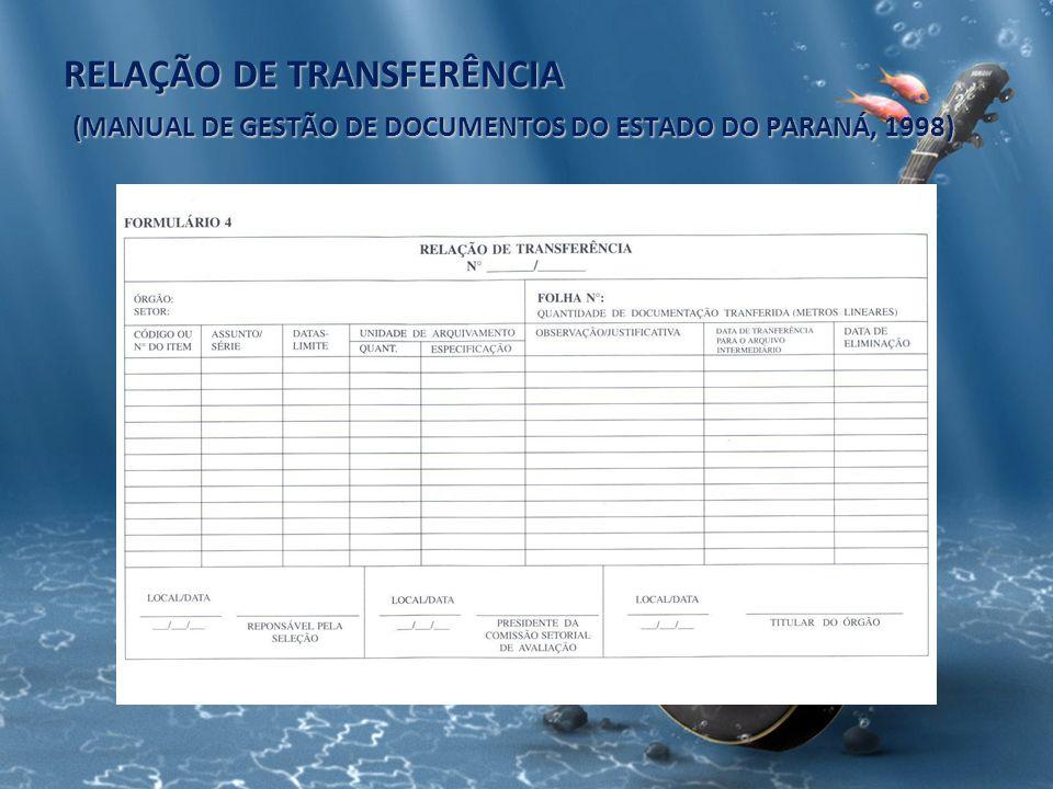 RELAÇÃO DE TRANSFERÊNCIA (MANUAL DE GESTÃO DE DOCUMENTOS DO ESTADO DO PARANÁ, 1998)