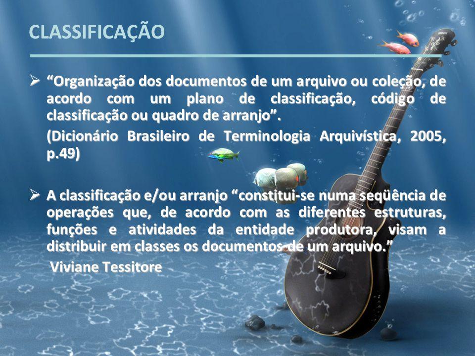 CLASSIFICAÇÃO Organização dos documentos de um arquivo ou coleção, de acordo com um plano de classificação, código de classificação ou quadro de arran