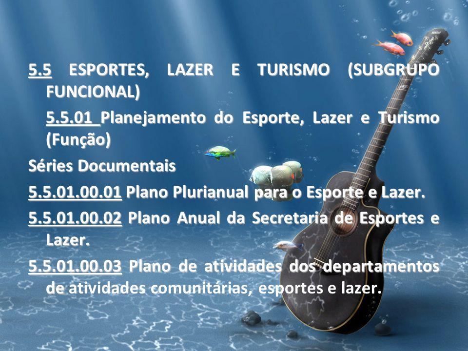 5.5 ESPORTES, LAZER E TURISMO (SUBGRUPO FUNCIONAL) 5.5.01 Planejamento do Esporte, Lazer e Turismo (Função) Séries Documentais 5.5.01.00.01 Plano Plur
