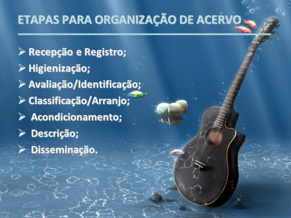 ETAPAS PARA ORGANIZAÇÃO DE ACERVO Recepção e Registro; Recepção e Registro; Higienização; Higienização; Avaliação/Identificação; Avaliação/Identificaç