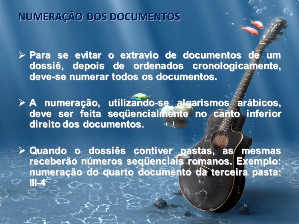 NUMERAÇÃO DOS DOCUMENTOS Para se evitar o extravio de documentos de um dossiê, depois de ordenados cronologicamente, deve-se numerar todos os document