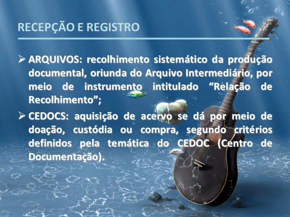 RECEPÇÃO E REGISTRO ARQUIVOS: recolhimento sistemático da produção documental, oriunda do Arquivo Intermediário, por meio de instrumento intitulado Re