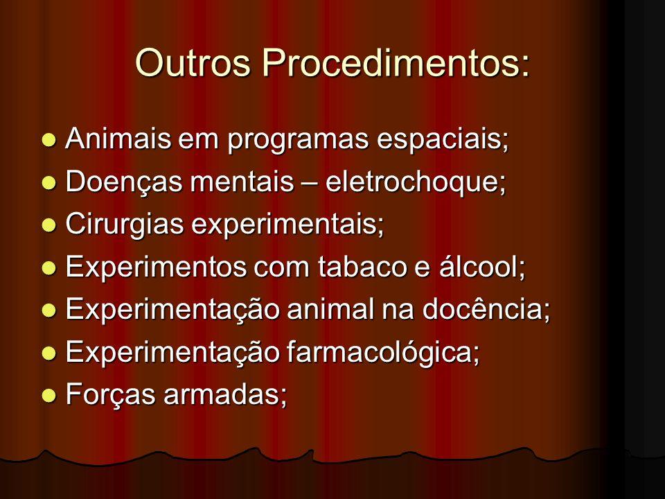 Outros Procedimentos: Animais em programas espaciais; Animais em programas espaciais; Doenças mentais – eletrochoque; Doenças mentais – eletrochoque;