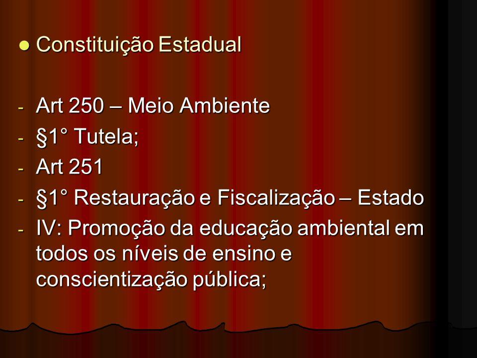Constituição Estadual Constituição Estadual - Art 250 – Meio Ambiente - §1° Tutela; - Art 251 - §1° Restauração e Fiscalização – Estado - IV: Promoção