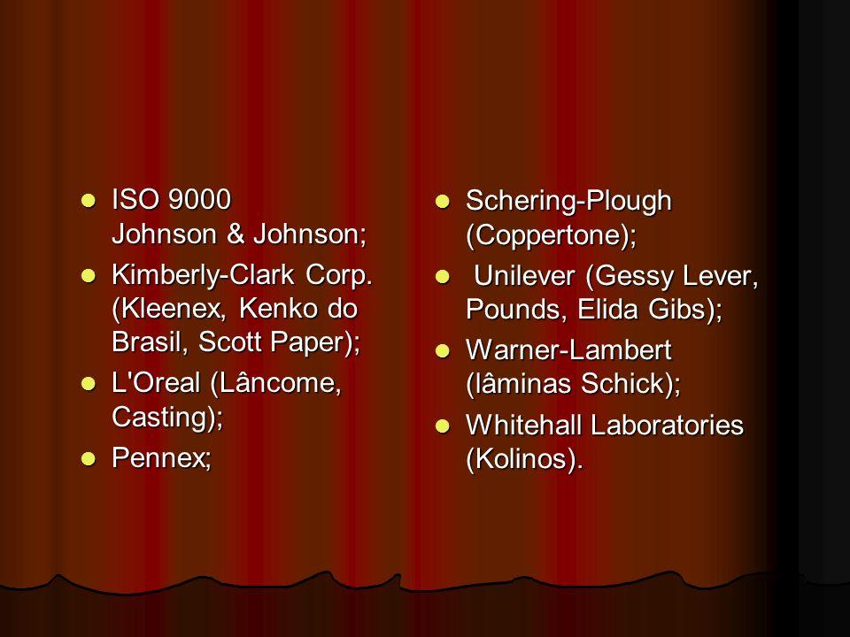 ISO 9000 Johnson & Johnson; ISO 9000 Johnson & Johnson; Kimberly-Clark Corp. (Kleenex, Kenko do Brasil, Scott Paper); Kimberly-Clark Corp. (Kleenex, K
