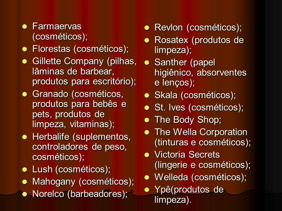 Farmaervas (cosméticos); Farmaervas (cosméticos); Florestas (cosméticos); Florestas (cosméticos); Gillette Company (pilhas, lâminas de barbear, produt