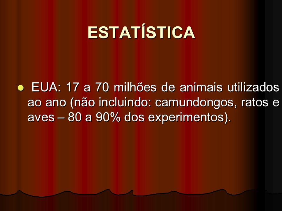 ESTATÍSTICA EUA: 17 a 70 milhões de animais utilizados ao ano (não incluindo: camundongos, ratos e aves – 80 a 90% dos experimentos). EUA: 17 a 70 mil