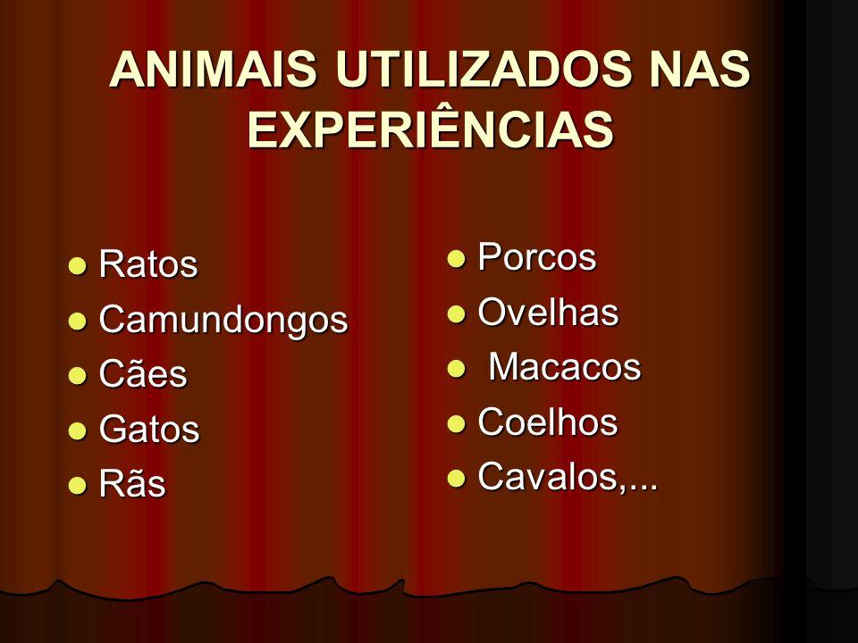 ANIMAIS UTILIZADOS NAS EXPERIÊNCIAS Ratos Ratos Camundongos Camundongos Cães Cães Gatos Gatos Rãs Rãs Porcos Porcos Ovelhas Ovelhas Macacos Macacos Co