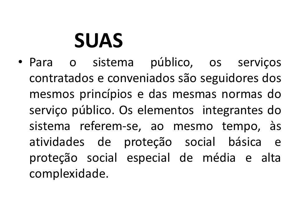 Para o sistema público, os serviços contratados e conveniados são seguidores dos mesmos princípios e das mesmas normas do serviço público. Os elemento