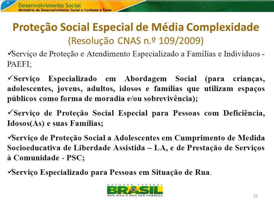 Proteção Social Especial de Média Complexidade (Resolução CNAS n.º 109/2009) Serviço de Proteção e Atendimento Especializado a Famílias e Indivíduos -