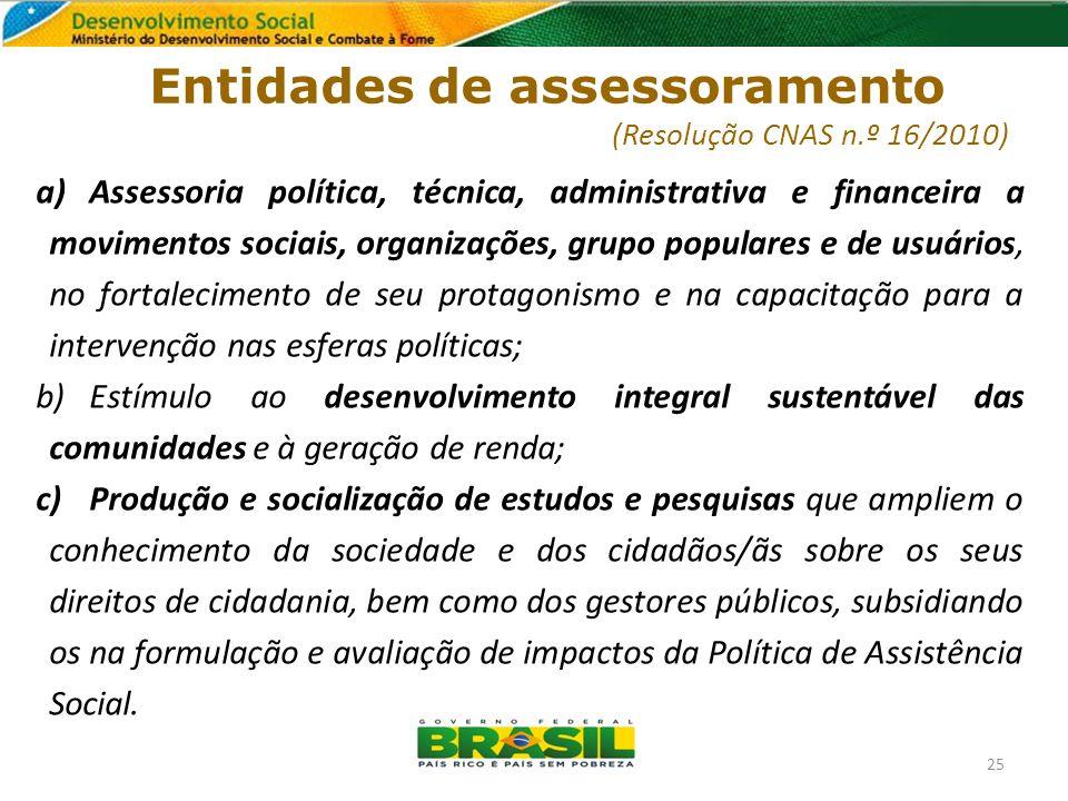 Entidades de assessoramento (Resolução CNAS n.º 16/2010) a)Assessoria política, técnica, administrativa e financeira a movimentos sociais, organizaçõe