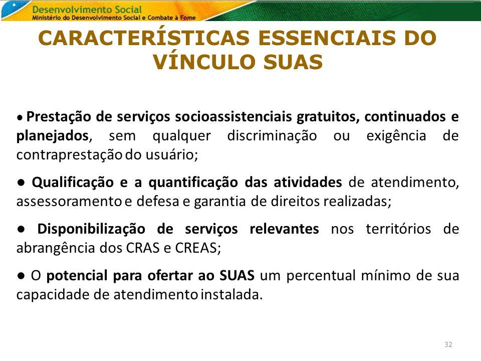 CARACTERÍSTICAS ESSENCIAIS DO VÍNCULO SUAS Prestação de serviços socioassistenciais gratuitos, continuados e planejados, sem qualquer discriminação ou
