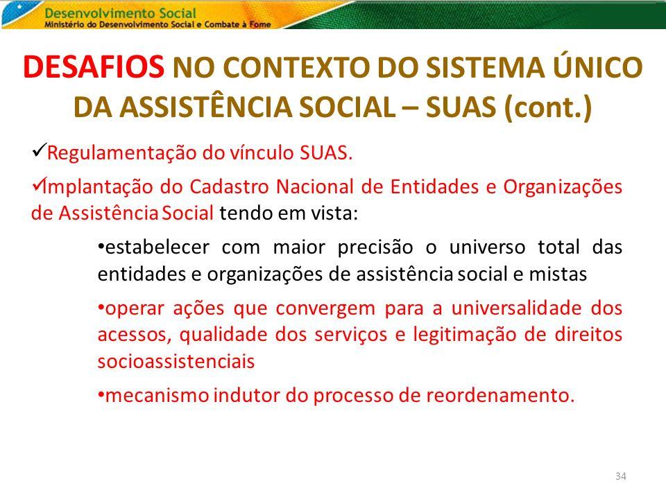 DESAFIOS NO CONTEXTO DO SISTEMA ÚNICO DA ASSISTÊNCIA SOCIAL – SUAS (cont.) 34 Regulamentação do vínculo SUAS. Implantação do Cadastro Nacional de Enti