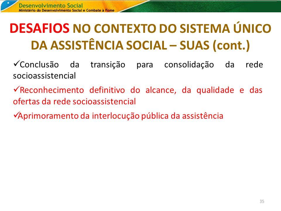 DESAFIOS NO CONTEXTO DO SISTEMA ÚNICO DA ASSISTÊNCIA SOCIAL – SUAS (cont.) 35 Conclusão da transição para consolidação da rede socioassistencial Recon