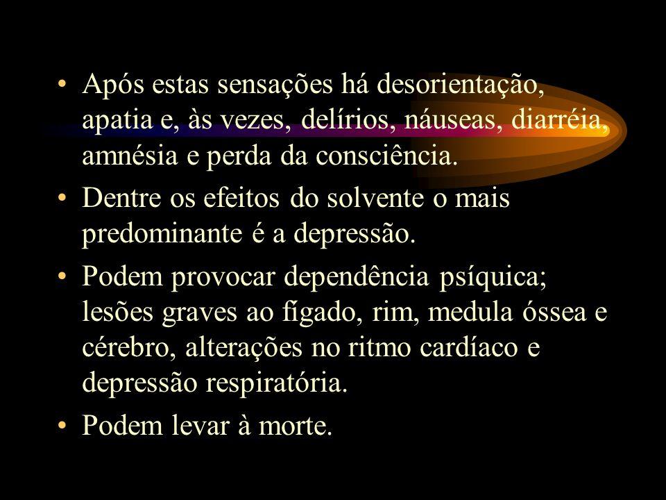Após estas sensações há desorientação, apatia e, às vezes, delírios, náuseas, diarréia, amnésia e perda da consciência.