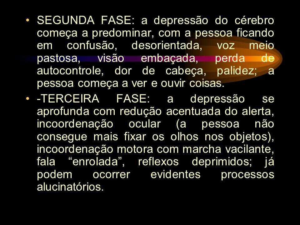 SEGUNDA FASE: a depressão do cérebro começa a predominar, com a pessoa ficando em confusão, desorientada, voz meio pastosa, visão embaçada, perda de autocontrole, dor de cabeça, palidez; a pessoa começa a ver e ouvir coisas.