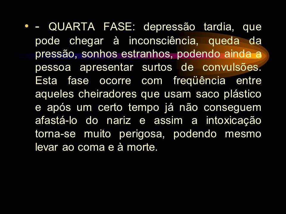 SEGUNDA FASE: a depressão do cérebro começa a predominar, com a pessoa ficando em confusão, desorientada, voz meio pastosa, visão embaçada, perda de a