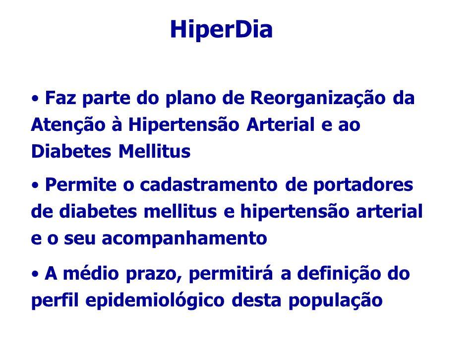 HiperDia Faz parte do plano de Reorganização da Atenção à Hipertensão Arterial e ao Diabetes Mellitus Permite o cadastramento de portadores de diabetes mellitus e hipertensão arterial e o seu acompanhamento A médio prazo, permitirá a definição do perfil epidemiológico desta população