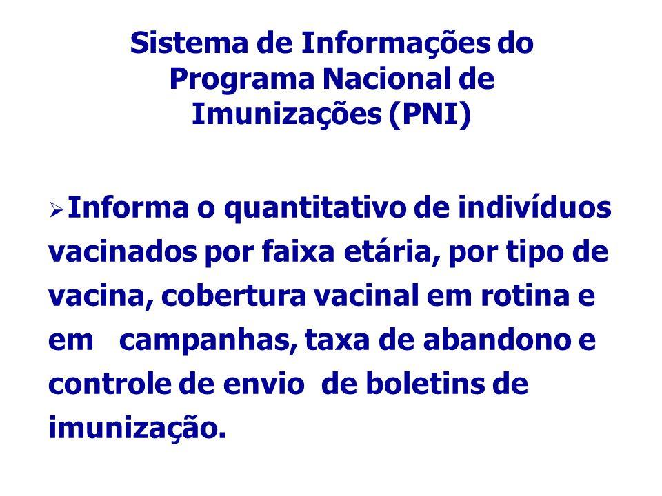 Sistema de Informações do Programa Nacional de Imunizações (PNI) Informa o quantitativo de indivíduos vacinados por faixa etária, por tipo de vacina, cobertura vacinal em rotina e em campanhas, taxa de abandono e controle de envio de boletins de imunização.