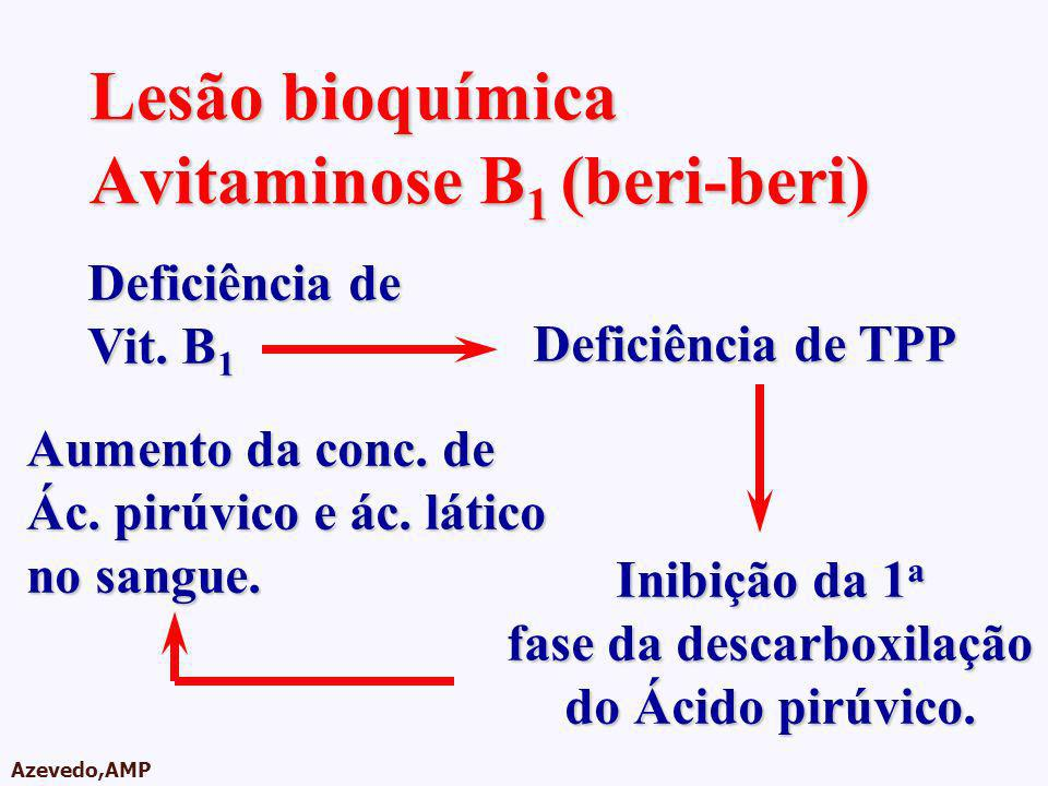 AMPA 2003 Azevedo,AMP Lesão bioquímica Avitaminose B 1 (beri-beri) Deficiência de Vit. B 1 Deficiência de TPP Aumento da conc. de Ác. pirúvico e ác. l