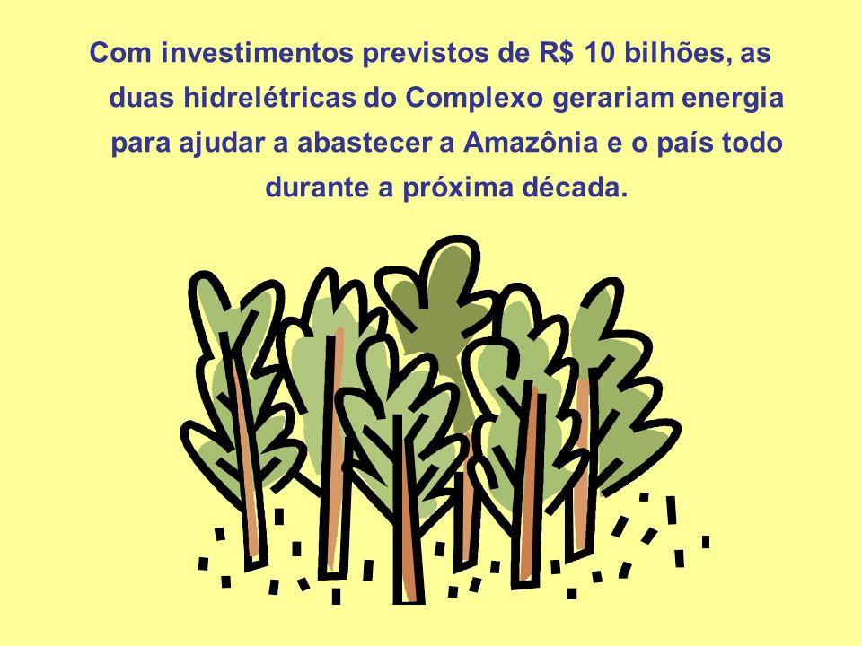 Com investimentos previstos de R$ 10 bilhões, as duas hidrelétricas do Complexo gerariam energia para ajudar a abastecer a Amazônia e o país todo dura