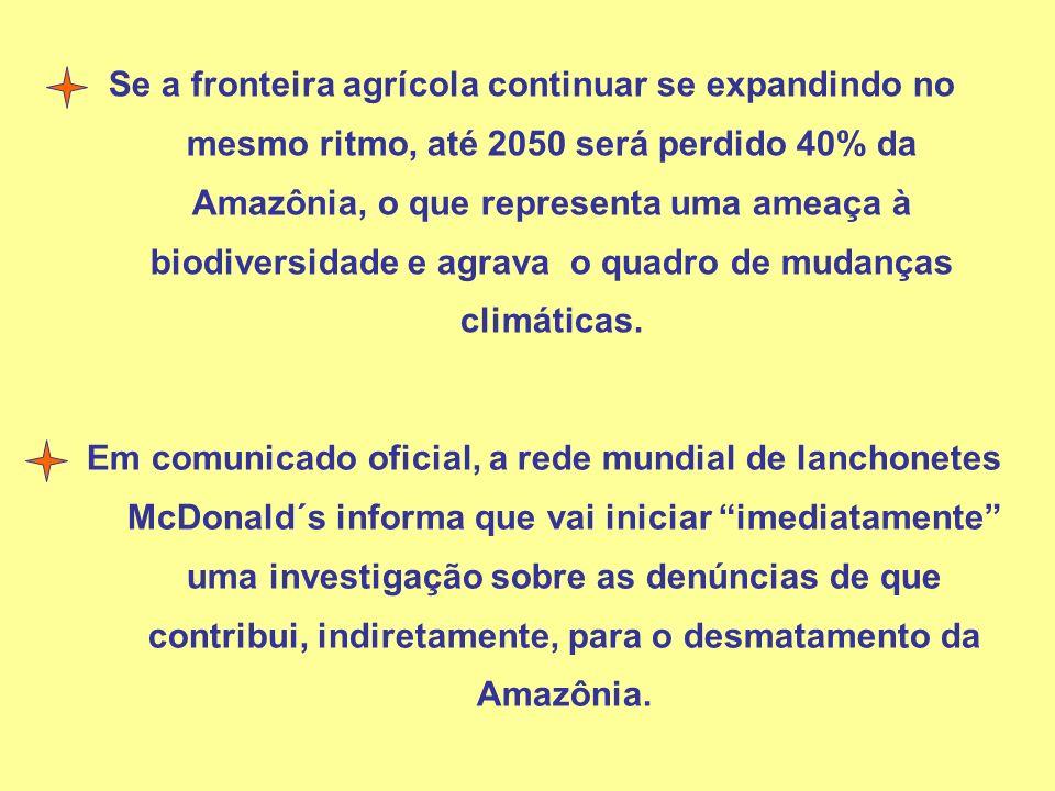Se a fronteira agrícola continuar se expandindo no mesmo ritmo, até 2050 será perdido 40% da Amazônia, o que representa uma ameaça à biodiversidade e