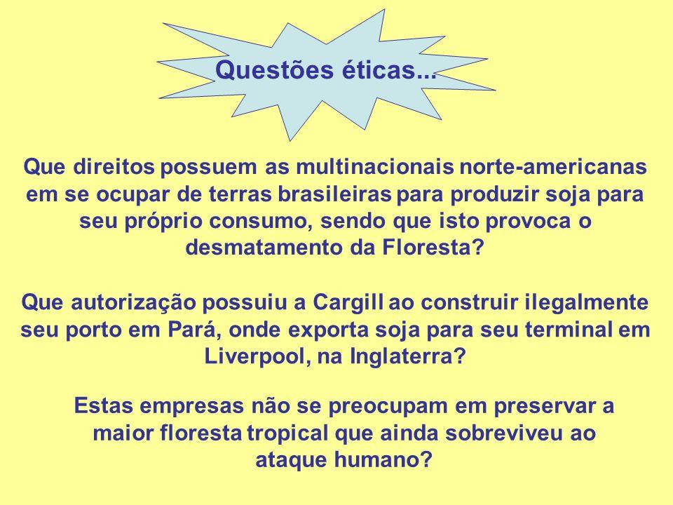 Questões éticas... Que direitos possuem as multinacionais norte-americanas em se ocupar de terras brasileiras para produzir soja para seu próprio cons