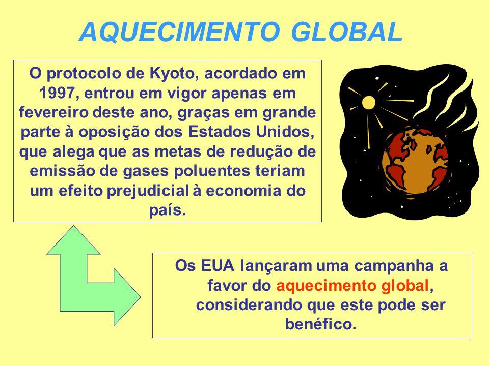 AQUECIMENTO GLOBAL O protocolo de Kyoto, acordado em 1997, entrou em vigor apenas em fevereiro deste ano, graças em grande parte à oposição dos Estado