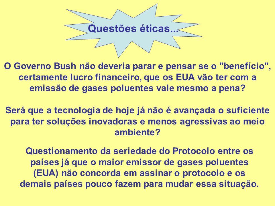 Questões éticas... O Governo Bush não deveria parar e pensar se o