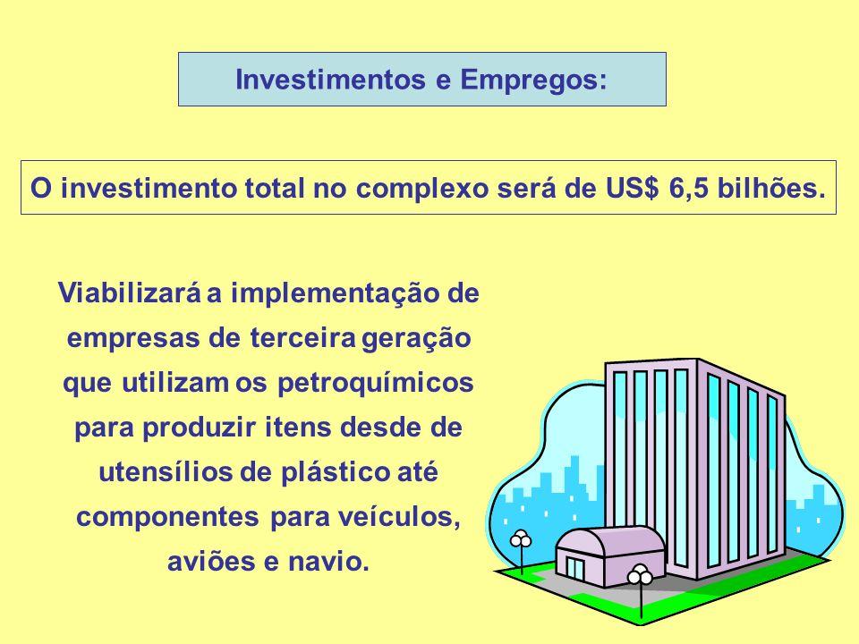 Investimentos e Empregos: O investimento total no complexo será de US$ 6,5 bilhões. Viabilizará a implementação de empresas de terceira geração que ut
