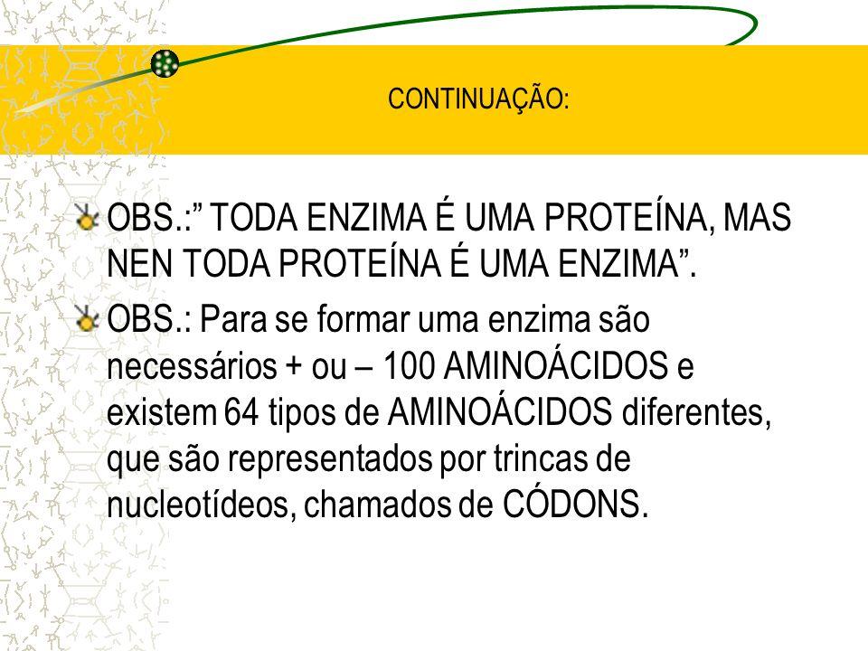 CONTINUAÇÃO: B) Denominação das enzimas: - Substrato + ase: Ex.: maltose + ase ==> maltase. - Reação + ase: Ex.: oxidação + ase ==> oxidase. - Substra