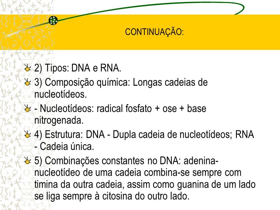 CONTINUAÇÃO: 2) Tipos: DNA e RNA.3) Composição química: Longas cadeias de nucleotídeos.