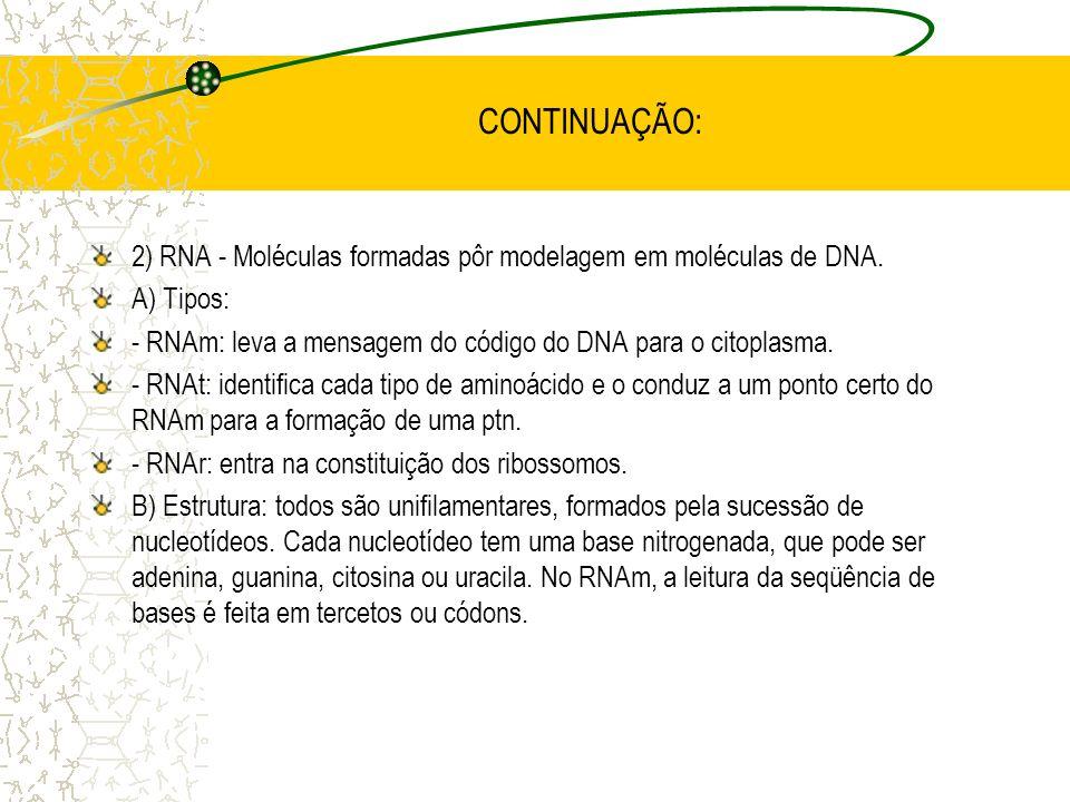 CONTINUAÇÃO: 2) RNA - Moléculas formadas pôr modelagem em moléculas de DNA.