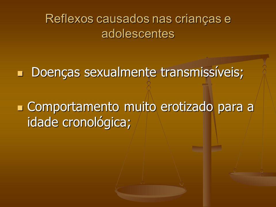 Reflexos causados nas crianças e adolescentes Doenças sexualmente transmissíveis; Doenças sexualmente transmissíveis; Comportamento muito erotizado pa