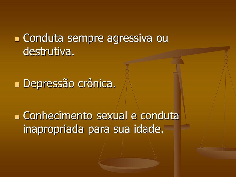 Conduta sempre agressiva ou destrutiva. Conduta sempre agressiva ou destrutiva. Depressão crônica. Depressão crônica. Conhecimento sexual e conduta in