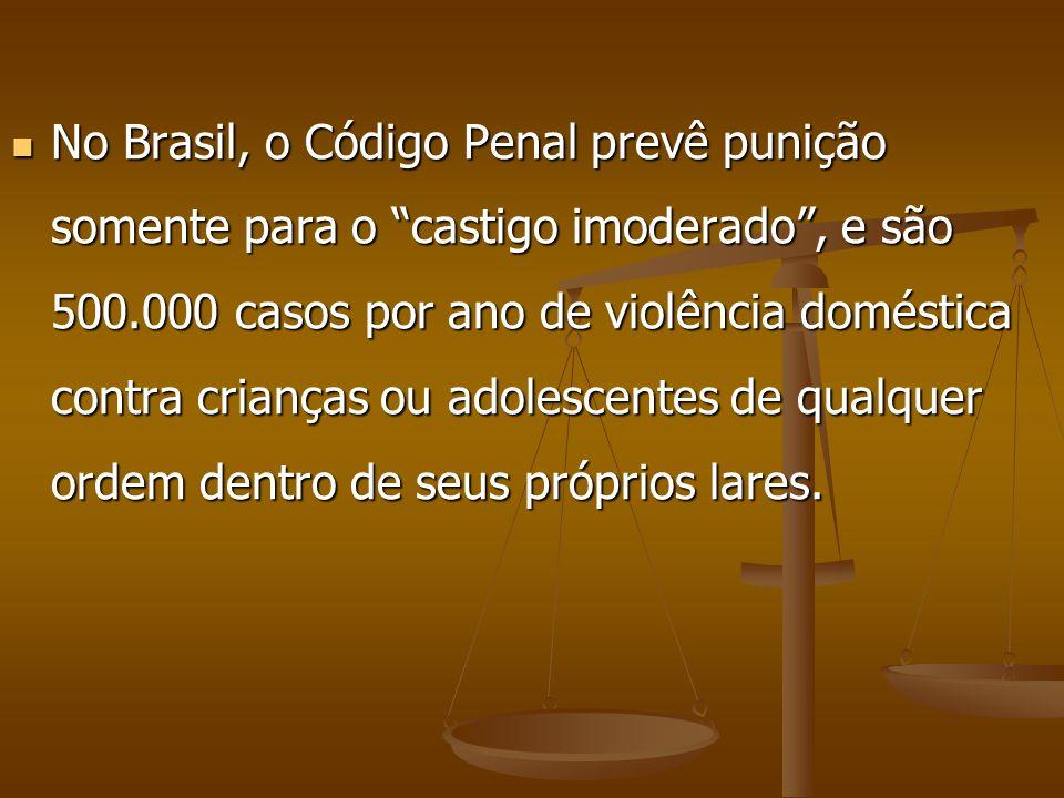 No Brasil, o Código Penal prevê punição somente para o castigo imoderado, e são 500.000 casos por ano de violência doméstica contra crianças ou adoles