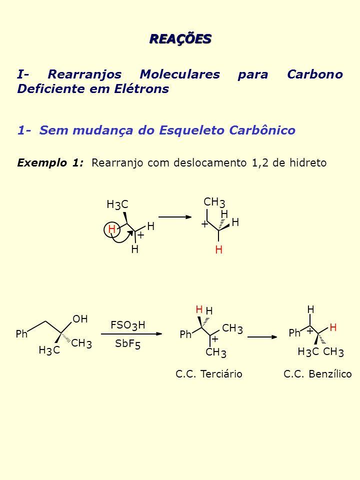 REAÇÕES I- Rearranjos Moleculares para Carbono Deficiente em Elétrons 1- Sem mudança do Esqueleto Carbônico Exemplo 1: Rearranjo com deslocamento 1,2
