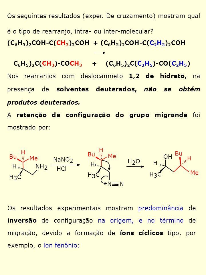 Os seguintes resultados (exper. De cruzamento) mostram qual é o tipo de rearranjo, intra- ou inter-molecular? (C 6 H 5 ) 2 COH-C(CH 3 ) 2 COH + (C 6 H