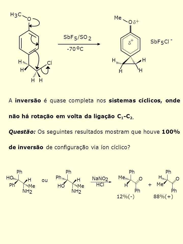 HH Cl Me H H H 3 C H H O -70 o C O H H SbF 5 /SO 2 SbF 5 Cl - A inversão é quase completa nos sistemas cíclicos, onde não há rotação em volta da ligaç