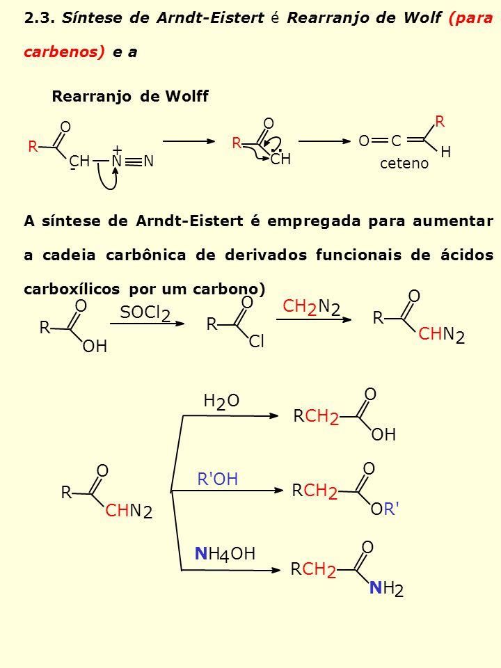 2.3. Síntese de Arndt-Eistert é Rearranjo de Wolf (para carbenos) e a A síntese de Arndt-Eistert é empregada para aumentar a cadeia carbônica de deriv
