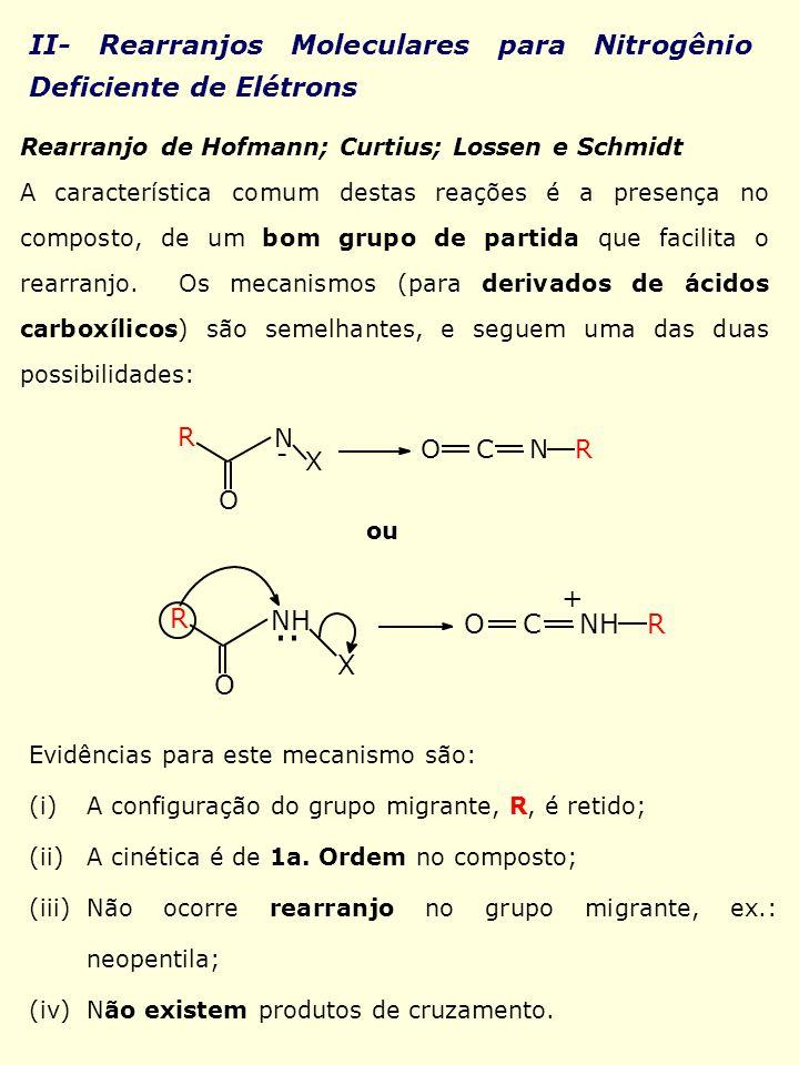 II- Rearranjos Moleculares para Nitrogênio Deficiente de Elétrons Rearranjo de Hofmann; Curtius; Lossen e Schmidt A característica comum destas reaçõe