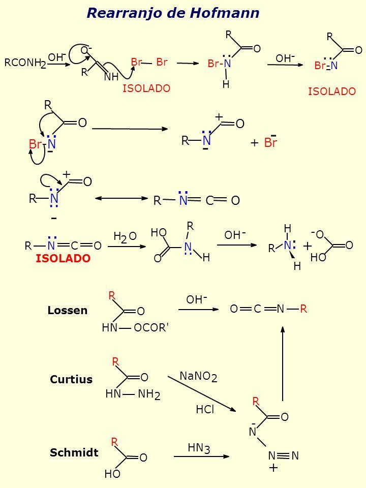 Rearranjo de Hofmann - R Br-N.. O - R N.. O + + Br -.. + O R N -.. R N C O H R N.. OH - + O N.. R N C O H 2 O HO R H.. - O H ISOLADO O O OH - + O C N