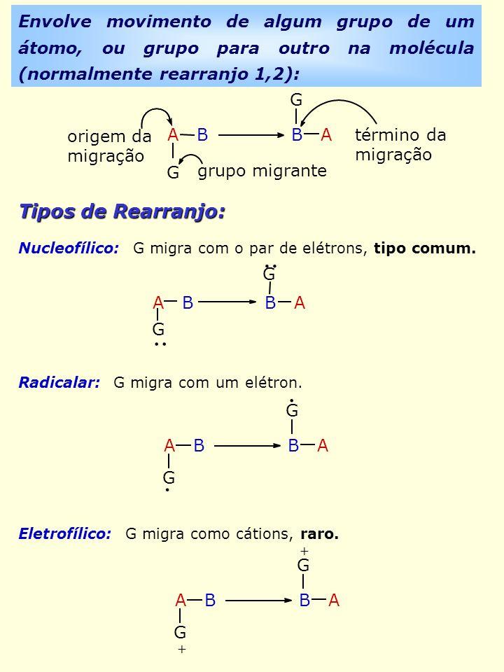 Envolve movimento de algum grupo de um átomo, ou grupo para outro na molécula (normalmente rearranjo 1,2): A B B A G G origem da migração grupo migran