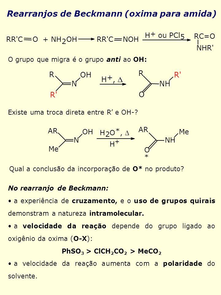Rearranjos de Beckmann (oxima para amida) RR'C O + NH 2 OH RR'C NOH H + ou PCl 5 RC=O NHR' O grupo que migra é o grupo anti ao OH: O R' R N OH H +, NH