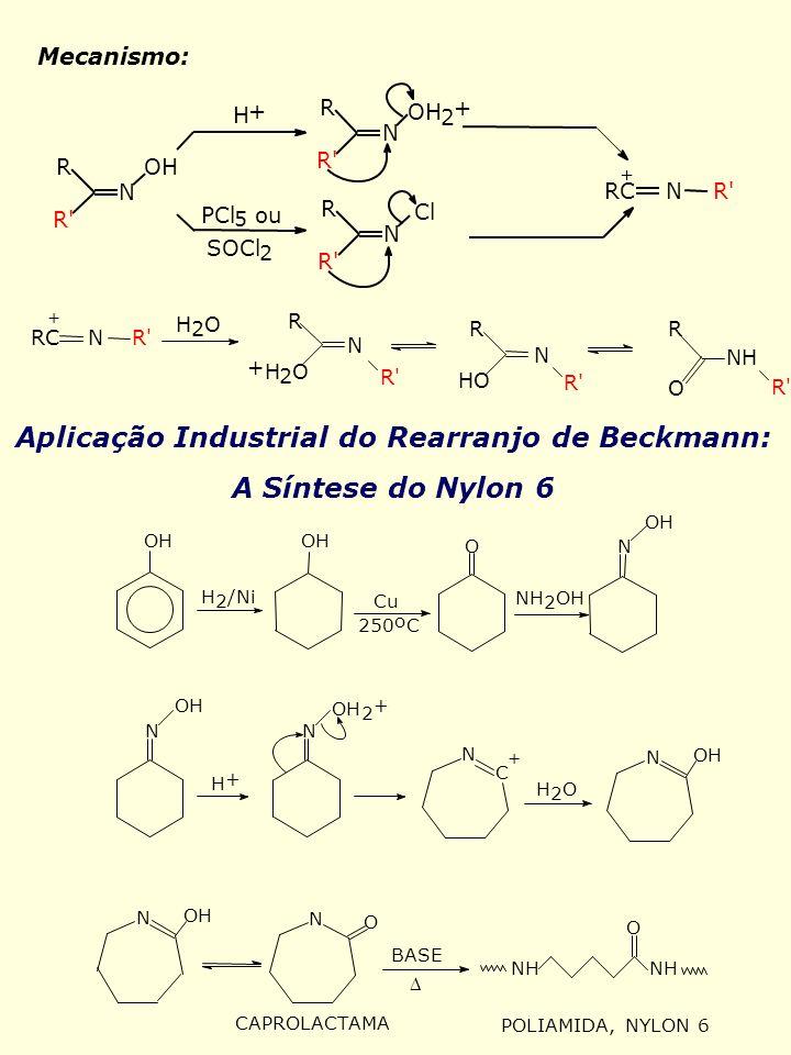 Mecanismo: + R' R N OH 2 + N R R' H + PCl 5 ou SOCl 2 R' R N Cl RC N R' O R' R N NH R R' RC N R' + H 2 O N R + H 2 O HO Aplicação Industrial do Rearra