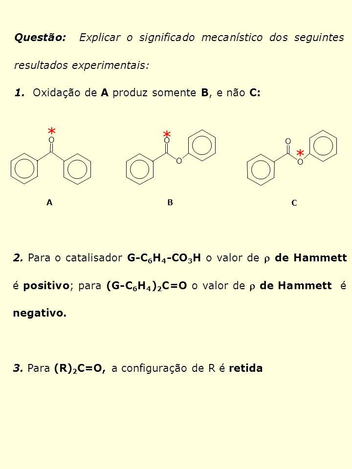 Questão: Explicar o significado mecanístico dos seguintes resultados experimentais: 1. Oxidação de A produz somente B, e não C: 2. Para o catalisador