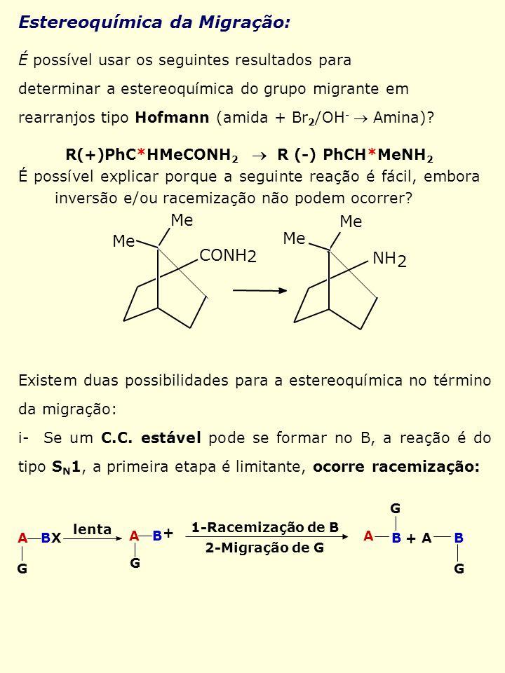 É possível usar os seguintes resultados para determinar a estereoquímica do grupo migrante em rearranjos tipo Hofmann (amida + Br 2 /OH - Amina)? R(+)